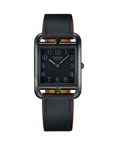 Cape Cod Matte Black Leather Strap Watch