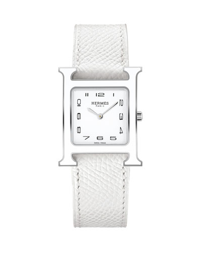 Heure H MM Watch with White Leather Strap