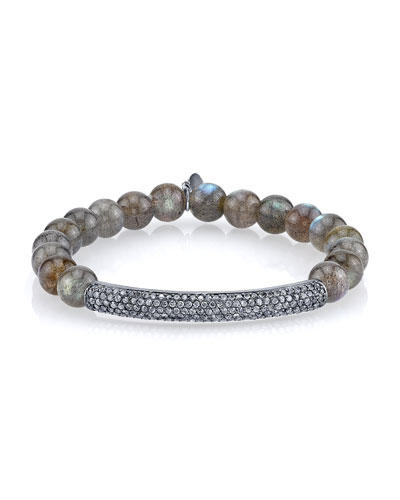 8mm Labradorite Beaded Bracelet with Diamond Bar