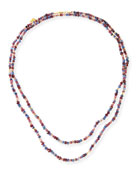 "Sapphire, Garnet & Rhodolite Beaded Necklace, 50"""
