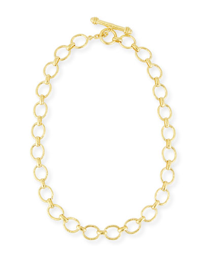 ELIZABETH LOCKE POSITANO LINK NECKLACE IN 18K GOLD, 17""