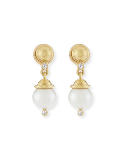 ELIZABETH LOCKE PEARL & DIAMOND DOME DROP EARRINGS