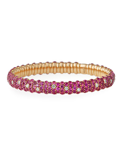 Pink Sapphire & Diamond Stretch Bracelet in 18K Rose Gold