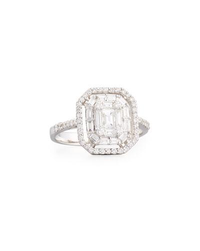 Mosaic Emerald-Cut Illusion Diamond Halo Ring