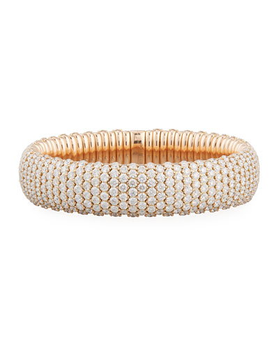 Wide Diamond Stretch Bracelet in 18K Rose Gold, 19.44 tdcw