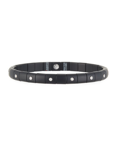 18K White Gold Matte Black Ceramic & Diamond Bracelet