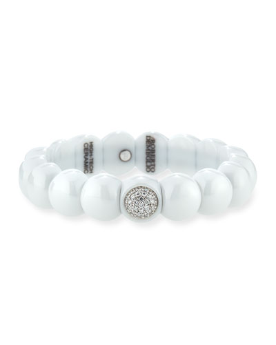 Dama White Ceramic Bracelet with White Diamonds