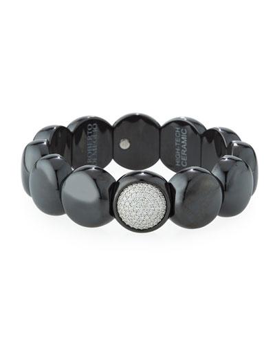 Dama Matte Black Ceramic Beaded Bracelet with White Diamonds
