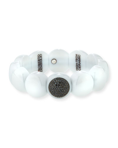 Dama Beaded White Ceramic & Black Diamond Stretch Bracelet
