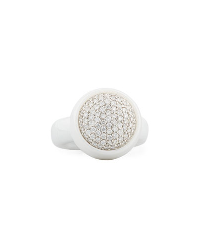 DAMA MEDIUM WHITE CERAMIC STRETCH RING WITH DIAMONDS
