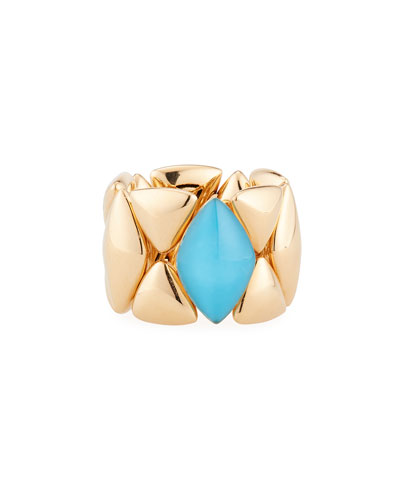 Rock Crystal Turquoise Ring