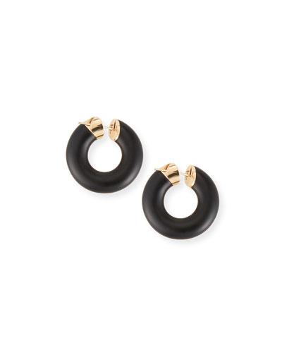 Creole 18k Pink Gold Jet Earrings