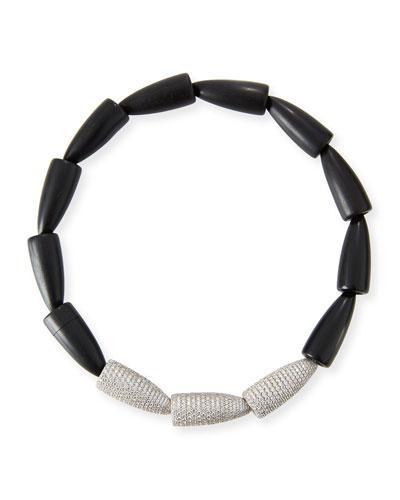 Black Ceramic Calla Lily Necklace with Diamonds