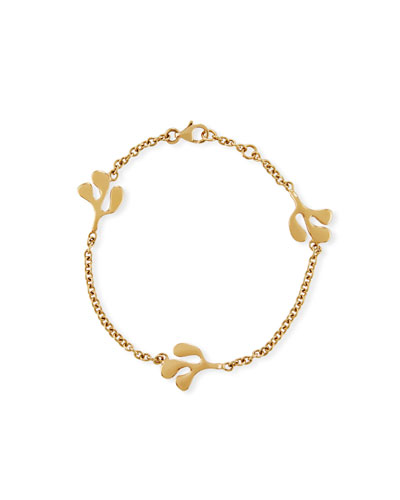 Sea Leaf Station Bracelet in 18K Yellow Gold