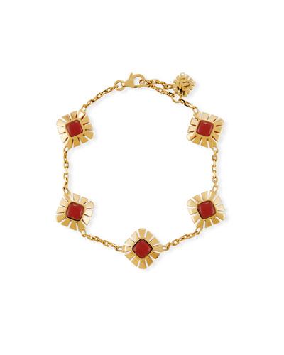 Sea Leaf Carnelian Station Bracelet