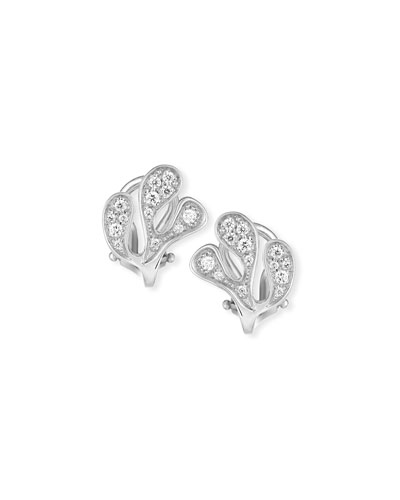 Sea Leaf Diamond Stud Earrings in 18K White Gold