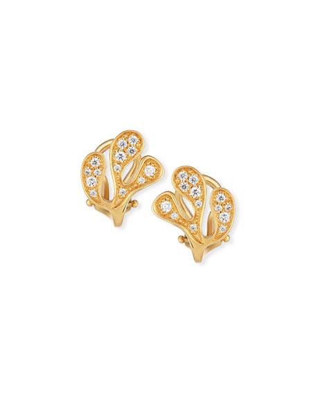 Miseno Sea Leaf Diamond Stud Earrings in 18K Yellow Gold