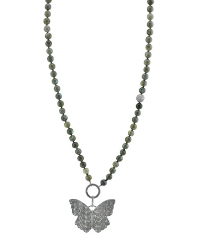 8mm Labradorite Beaded Necklace with Diamond Butterfly Pendant