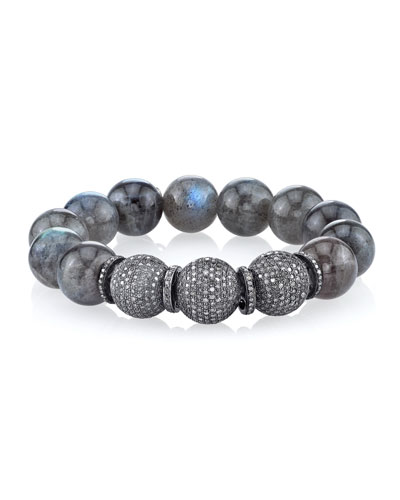 14mm Labradorite Beaded Bracelet with Diamonds