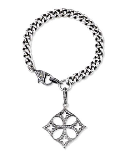 Curb Chain Bracelet with Diamond Malta Charm