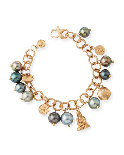 Tahitian Pearl Charm Bracelet in 18K Rose Gold with Diamonds
