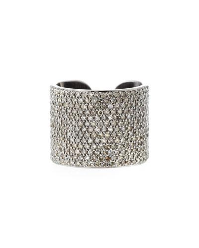 Pave Diamond Cuff Band Ring, Size 8