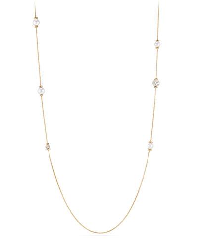 Solari Long Pearl & Diamond Station Necklace, 36