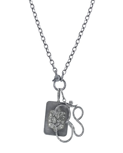 Link Chain Necklace with Diamond Ganesh Dog Tag & Om Pendants