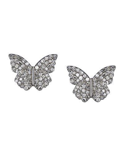Pave Diamond Butterfly Stud Earrings
