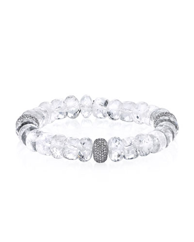 10mm Crystal Quartz Beaded Bracelet with Diamond Bead