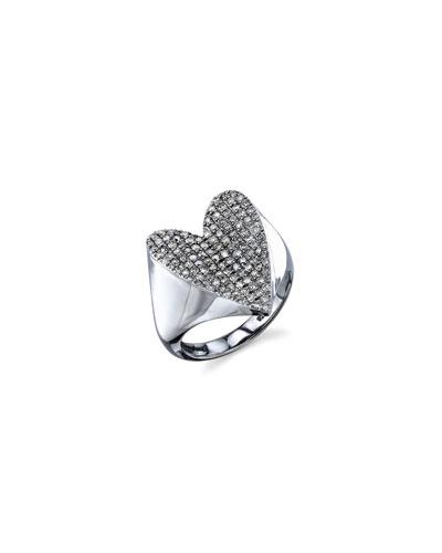 PAVÉ DIAMOND HEART RING, SIZE 7.5