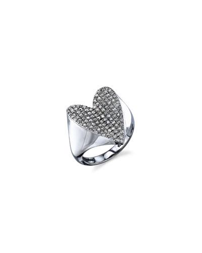 Pavé Diamond Heart Ring, Size 8.5