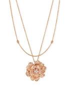 Pavé Diamond Flower Necklace in 18K Rose Gold