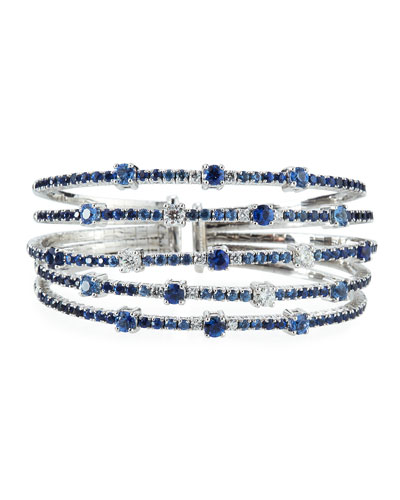 Multi-Row Blue Sapphire & Diamond Cuff Bracelet