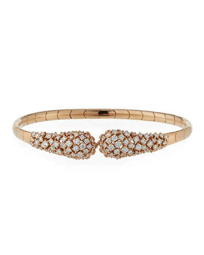 Diamond Snake 18K Rose Gold Cuff Bracelet