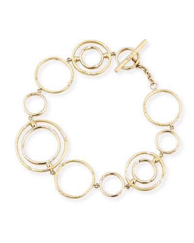 13-Hoop Bamboo Link Bracelet with Diamonds