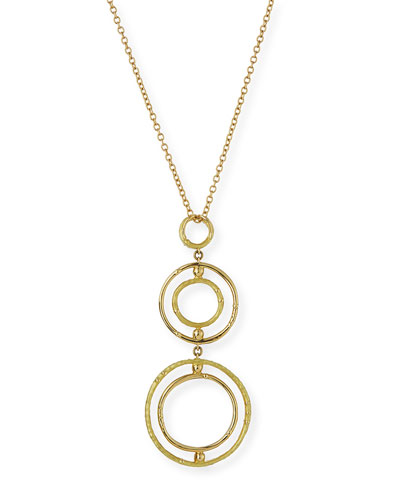 Five-Circle Bamboo Pendant Necklace with Diamonds