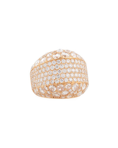 Rose-Cut & Pavé Diamond Band Ring in 18K Rose Gold, Size 7.5