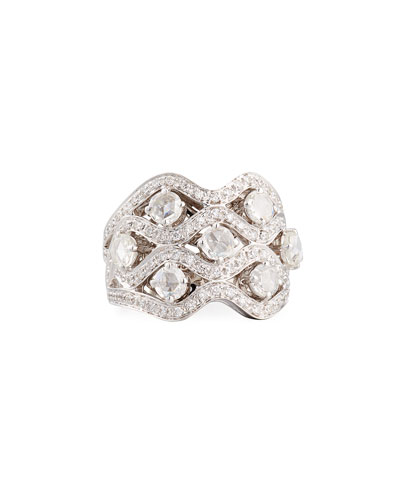 Diamond Crisscross Ring in 18K White Gold, Size 8.25