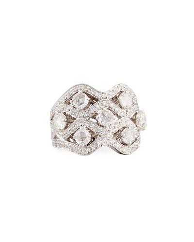 Diamond Crisscross Ring in 18K White Gold, Size 8.25
