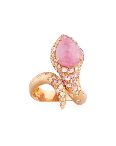 Pink Sapphire & Diamond Snake Ring in 18K Rose Gold
