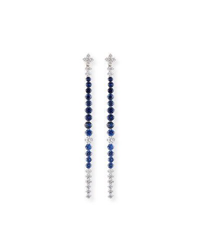 Blue Sapphire & Diamond Drop Earrings in 18K White Gold