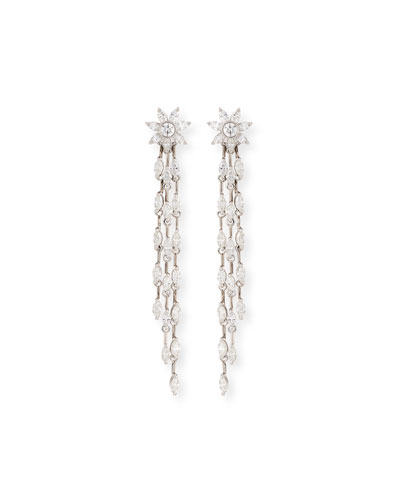 Round & Marquis Diamond Dangle Drop Earrings