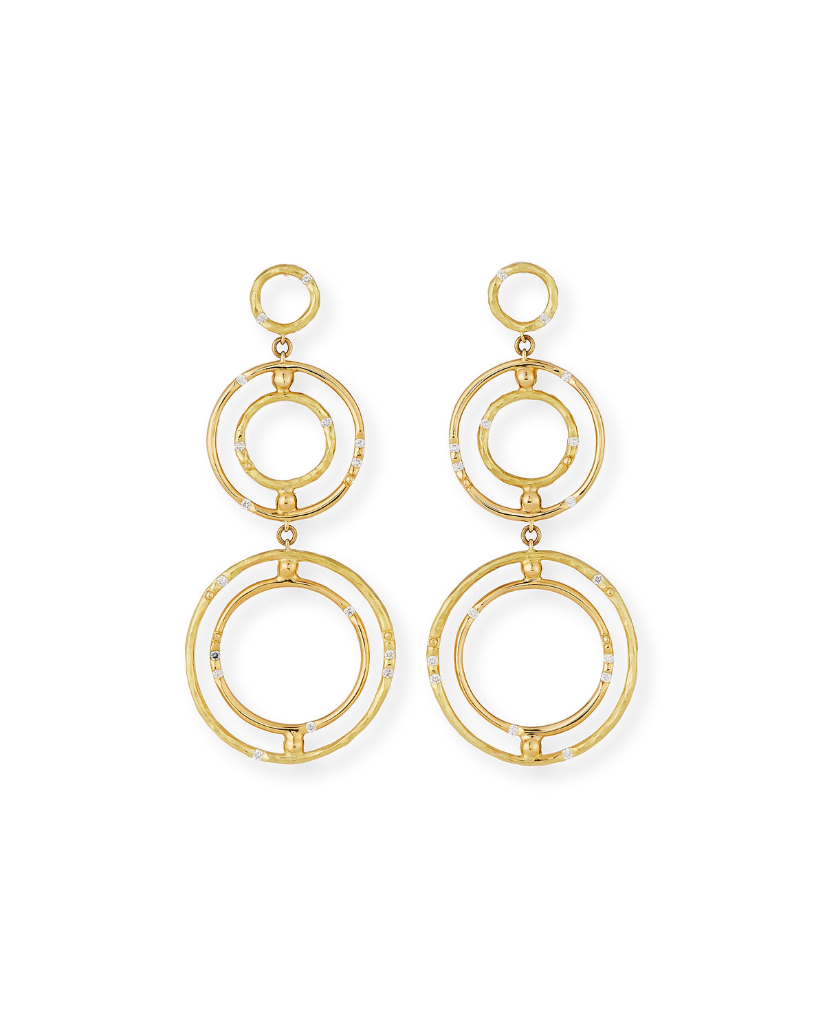 VENDORAFA BAMBOO 18K CIRCLE DROP EARRINGS WITH DIAMONDS