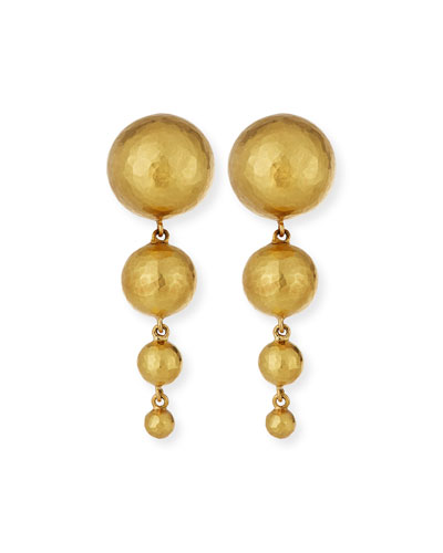 Hammered 18K Gold Ball Bead Drop Earrings