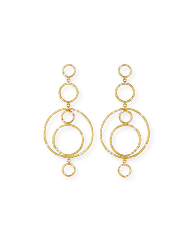Bamboo 18K Gold Link Earrings with Diamonds