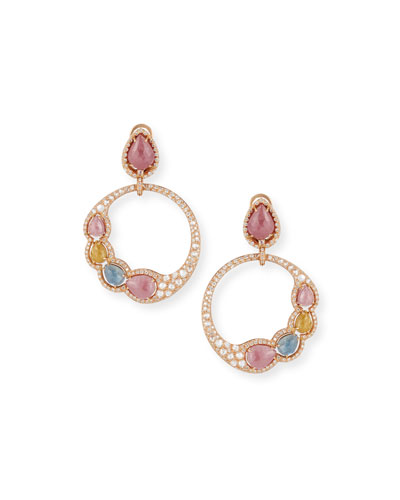Open Sapphire & Diamond Circle Earrings in 18K Rose Gold