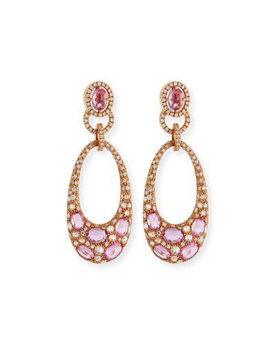 Pink Sapphire & Diamond Earrings in 18K Rose Gold