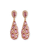 Pink Sapphire & Diamond Teardrop Earrings in 18K Rose Gold