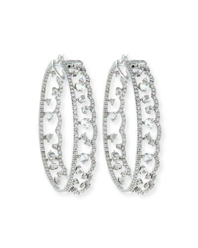 Scalloped 18K White Gold Diamond Hoop Earrings